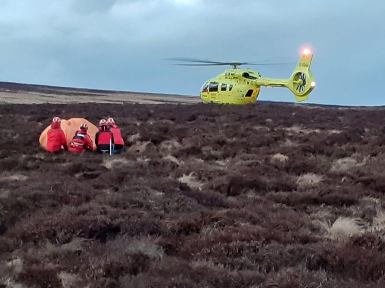 Air Ambulance landed at Mountain Rescue Casualty site